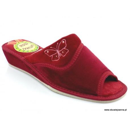 Pantofle damskie na koturnie odkryte Beata welur