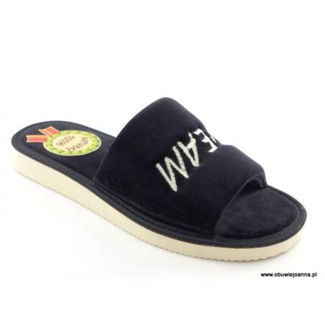 Pantofle damskie miękkie welurowe odkryte ZUZA