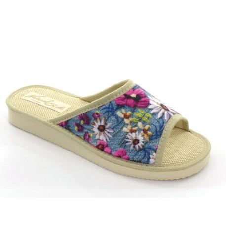 Pantofle damskie lniane wiosenna łączka otwarte