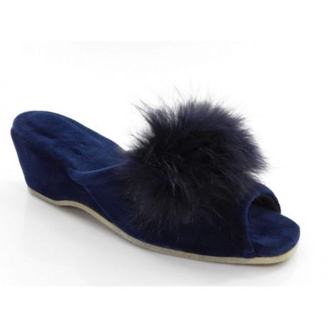 Pantofle damskie na koturnie pomponik odkryte