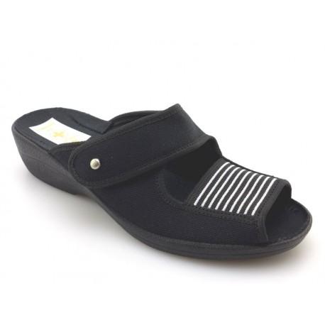 Klapki pantofle damskie gumka len rzep profilowane