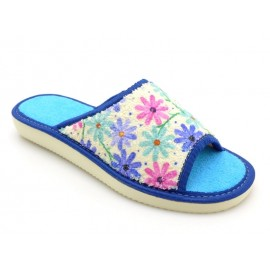 Pantofle damskie Maja odkryte palce frote kwiat