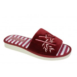 Pantofle damskie welur naturalne w paski