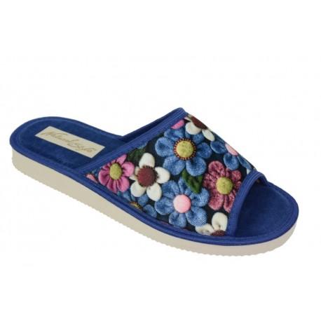 Pantofle damskie welur naturalne w kwiaty
